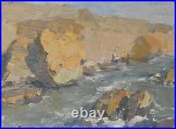Original Antique Soviet Ukrainian Landscape Oil Painting Mountain Stream Vintage