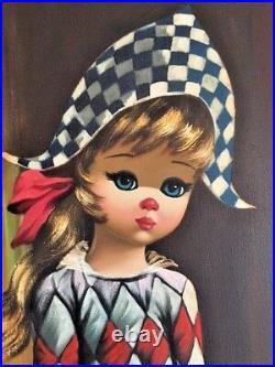 Original Eden Oil Painting Big Eyes Harlequin Girl 1960s