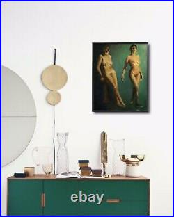 Original Jeff Barnes Vintage 16x20 Nude Figure Painting Women Oil On Hardboard