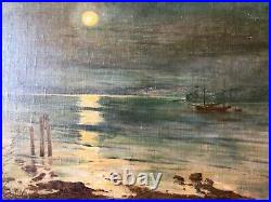 Original Oil Painting Canvas on Board Signed Artist Seascape