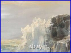 Original Oil Painting Of Ocean Signed A. Lawrie, Large Vintage Seascape Plein Air