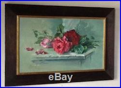 Original Oil Painting Roses 1979 Signed Vintage Still Life Wood Frame Great Gift