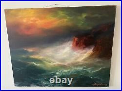 Original Oil painting on Canvas by Arthur Upelnieks Storm at Sea Signed USSR/USA