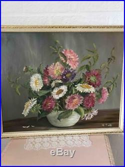 Original Old Vintage Floral Still Life Oil Painting Vase of Flowers Signed