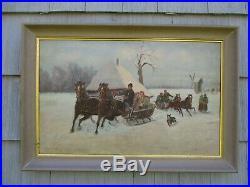 Original Signed Large Antique Vintage Winter Landscape with People Oil Painting