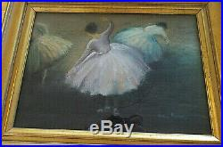 Original Signed Pastel Artwork, Three Ballerinas, In the Style of Edgar Degas, Fram