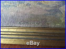 Original Signed Vintage Jean Spencer Oil Painting Blue Dog Restaurant