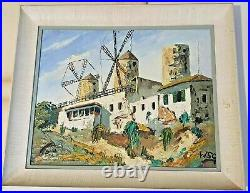 Original Signed WINSTON S. CHURCHILL Framed Oil Painting on Canvas Windmills WSC