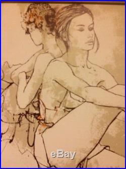 Original Vintage Bernard Dufour Signed Painting, The Dancer, Ballet Ballerina