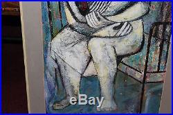Original Vintage Cubist Painting Signed Reisman-Woman Sitting In Metal Bed