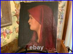 Original Vintage French Oil Painting Signed C1950 Lady in Red