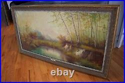 Original Vintage Large Oil Painting Signed by Italian Artist Bartolomeo Sara