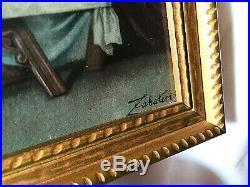 Original Vintage Last Supper Painting Signed By Zabateri On Cardboard Wood Frame
