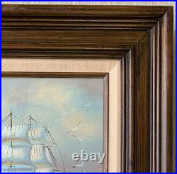 Original Vintage Oil Painting Clipper Ship Signed Framed Sea Ocean Antique