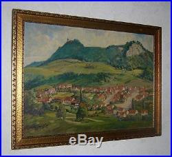 Original Vintage Oil Painting VILLAGE IN EUROPE Framed Signed BIALAS 1953
