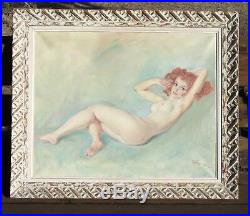 Original Vintage Pal Fried Nude Pin Up Art Painting Lovely Woman Not Szantho