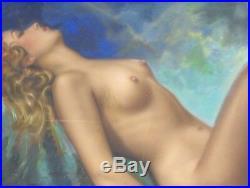 Original Vintage Pin Up Illustration Pinup Art Painting Nude Woman Like Moran