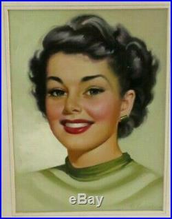 Original Vintage Portrait Painting By Simon Vanderlaan Listed Artist 1950s SV37