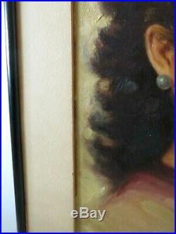 Original Vintage Portrait Painting By Simon Vanderlaan Pensive 1950s SV39