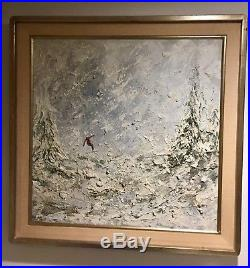 Original Vintage Signed Oil On Canvas Downhill Skier With Frame Neiman Style