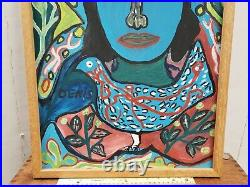 Original Vtg DENIS SMITH Signed HAITIAN OIL PAINTING Blue Woman