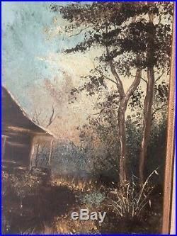 Original Vtg Oil Painting House Cabin Home Landscape Wood Signed 79' Framed Wood