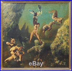 Original nude woman warrior vintage fantasy surreal large signed oil painting