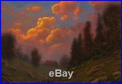 Original oil painting landscape signed on canvas vintage antique style 4536 COLE