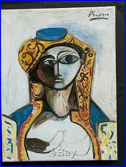 Original vintage rare art oil on canvas! Hand signed Pablo Picasso 1955-No print