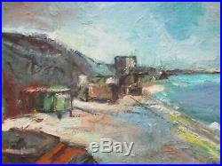 Ortiz Signed MID Century Painting Coastal Abstract Expressionism Modernism Vntg