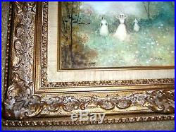 PAIR of STUNNING Vintage reverse paintings on Glass by Artist James Llewellyn