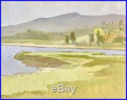 PAUL STRAHM Vintage CA Plein Air Impressionist Painting Marsh Lake Original Oil