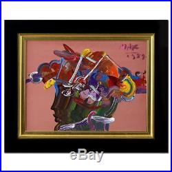 PETER MAX Vintage Original Painting on Canvas BEAUTY PROFILE SIGNED with COA