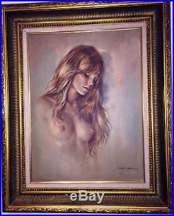 PLAYBOY Playmate Leo Jansen Signed Vintage Original Nude Portrait Oil 24x18