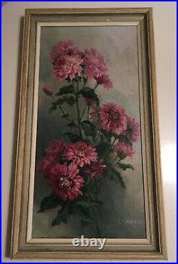 PRETTY VINTAGE 50s FLORAL OIL PAINTING CANVAS SIGNED FRAMED COUNTRY COTTAGE CHIC