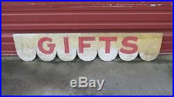 PRIMITIVE WOODEN 56 Gifts Sign VINTAGE Market General Store Hand Painted