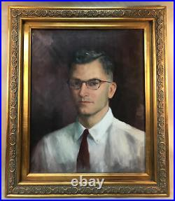 PV05410 Vintage FRAMED F. Cooper Oil Painting on Canvas- PORTRAIT HANDSOME MAN