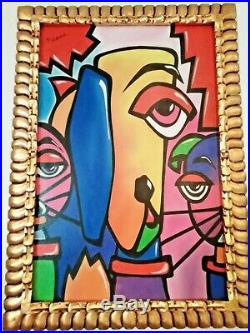 Pablo Picasso, Oil Painting On Canvas, Signed And With Hand Carved Wood Frame