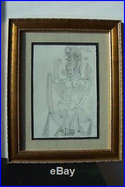 Pablo Picasso Original Hand Signed Vintage Ink Drawing Not A Print Framed