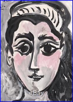 Pablo Picasso Original Hand Signed Vintage Painting Abstract Female Figure Rare
