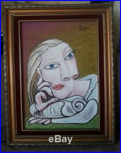 Pablo Picasso Original painting signed vintage rare Not print stamp galery oil