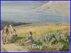 Pablo Picasso Original vintage rare art 1899 watercolour hand signed No Print