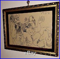 Pablo Picasso Pencil Graphite On Original Paper Hand Signed Vintage