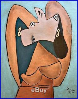 Pablo Picasso Vintage Art Oil Painting hand signed canvas(Basquiat, Klimt, Miró)