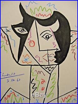 Pablo Picasso, signed, original, Cubist, drawing, vintage art, painting