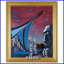 Painting Oil TIKI VILLAGE Easter Island MID CENTURY MODERNISM ARCHITECTURE Retro