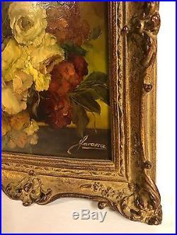 Pair Vintage Floral Flowers Oil Paintings Original Gold Frames Signed