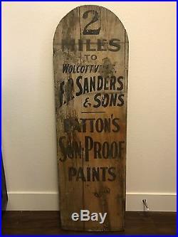 Pattons Sun Proof Paints Vintage Antique Wood Store Advertising Sign