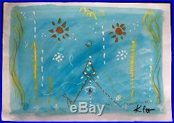 Paul Klee Fine Original Rare Gouache Painting Vintage Blue Abstract Signed