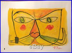 Paul Klee Fine Original Rare Gouache Painting Vintage Yellow Cat Signed